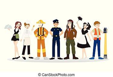 anders, groep, mensen, beroepen, illustratie, ontwerp