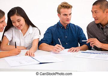 anders, groep, werkplaats, zakenlui