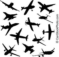 anders, groot, verzameling, vector, silhouettes., vliegtuig