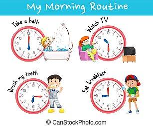 anders, het tonen, routines, tabel, morgen