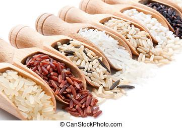 anders, houten, scoops, verspreid, hen, rijst, types