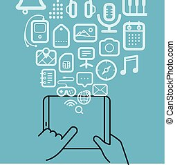 anders, iconen, gadget, moderne, stroom, techno