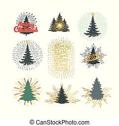 anders, illustratie, vector, bomen, frework, kerstmis