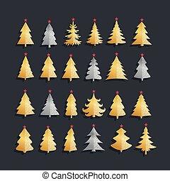 anders, illustratie, vector, bomen, vuurwerk, kerstmis