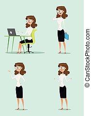 anders, illustration., businesswoman, het tonen, gebaren, vector, spotprent