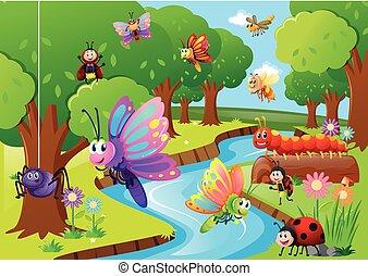 anders, insecten, vliegen over, de, rivier