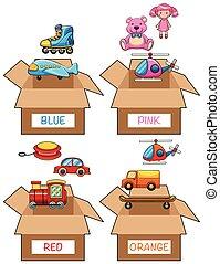 anders, items, in, gevarieerd, kleuren