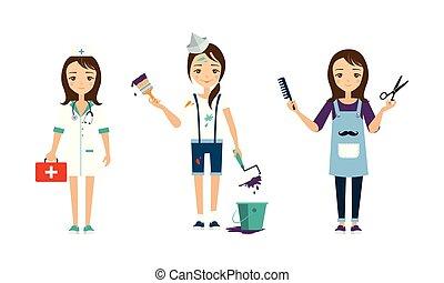 anders, kapper, set, beroepen, illustratie, schilder, arts, vector, achtergrond, witte , vrouwen