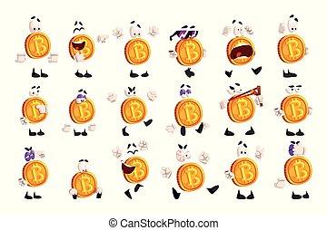 anders, karakter, bitcoin, emoties, crypto, vector, sett, illustraties, emoji