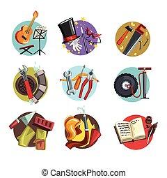anders, kleurrijke, iconen, set, beroepen, symbolen, vector, illustraties, professioneel, gereedschap