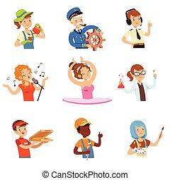 anders, kleurrijke, mensen, set, beroepen, mannen, avatars, verzameling, vector, illustraties, vrouwen