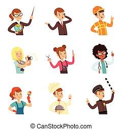anders, kleurrijke, mensen, set, beroepen, mannen, jonge, verzameling, avatars, vector, illustraties, vrouwen