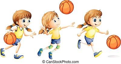 anders, meisje, spelend, sporten