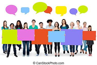 anders, mensen, raad, kleurrijke, vasthouden