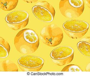 anders, model, boompje, seamless, gedaantes, halves, vruchten, sinaasappel