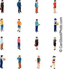 anders, niveau, beroepen, mensen, isometric, werk, opleiding, koel, haren, kleren