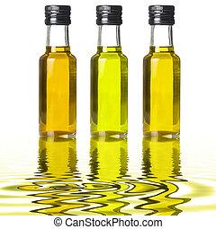 anders, olie, flessen, vloeistof, drie, weerspiegelingen, olive