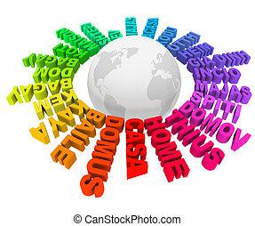 anders, ongeveer, thuis, talen, woorden, cultures, wereld
