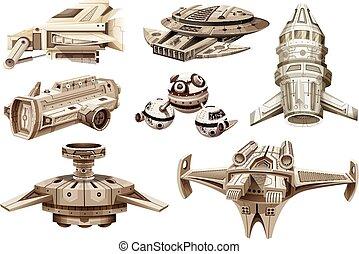 anders, ontwerpen, spaceships