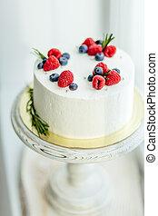 anders, prachtig, taart, verfraaide, besjes, witte , room
