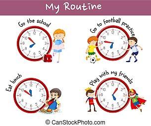 anders, routines, op, poster, met, geitjes, en, activiteiten