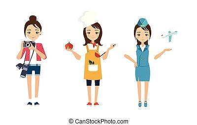 anders, set, beroepen, illustratie, vector, fotograaf, achtergrond, witte , vrouwen, cook, stewardess