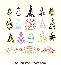 anders, set, bomen, vector, decoraties, kerstmis