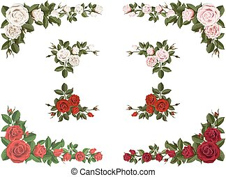 anders, set, bouquetten, rozen, hoek, kleur