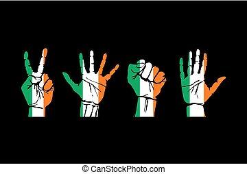anders, set, gebaren, vlag, ierland, handen, verpakte