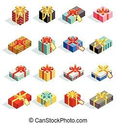 anders, set, gekleurde, isolated., groot, illustratie, vector, giftboxes, linten, 3d