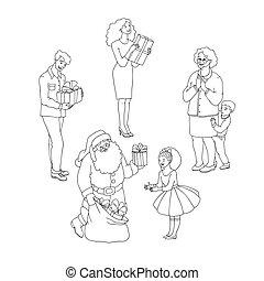 anders, set, gezin, geven, claus, illustratie, kadootjes, vector, members., kerstman