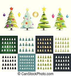 anders, set, groot, bomen, silhouette., vector, illustratie, kerstmis