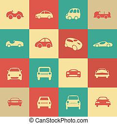anders, set, iconen, auto's, vector, retro, forms., auto