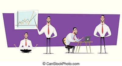 anders, set, karakter, poses., ontwerp, zakenlieden, spotprent