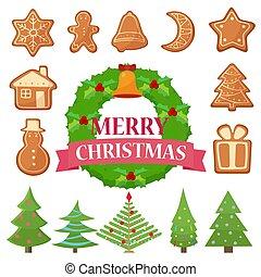 anders, set, koekjes, bomen, cakes, illustratie, vector, wreath., kerstmis
