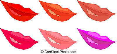 anders, set, lippen, vrouwen, kleuren, vector, beelden
