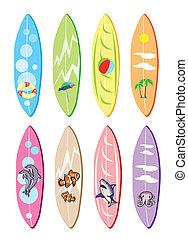 anders, set, ontwerpen, illustratie, surfboards