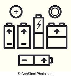 anders, set, schets, iconen, batterijen, vector, black , types