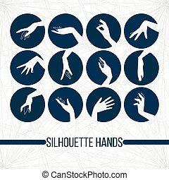 anders, set, silhouette, iconen, gebaren, elegant, vector, vrouwenhanden, het tonen