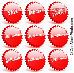 anders, set, ster, verkoop, languages., vector, rood, woord, kentekens, 3d
