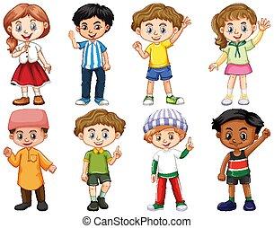 anders, set, vrijstaand, acties, kinderen
