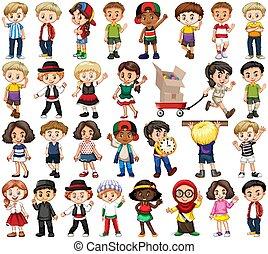 anders, set, vrolijke , kinderen, acties