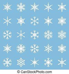anders, set, winter, snowflakes