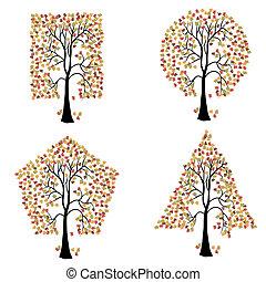 anders, shapes., geometrisch, bomen