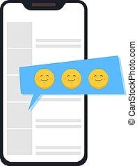 anders, smartphone, emoticons., emoticons, toepassing, praatje, gebruik