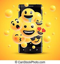 anders, smileys, illustratie, realistisch, vector, voorkant, cellphone
