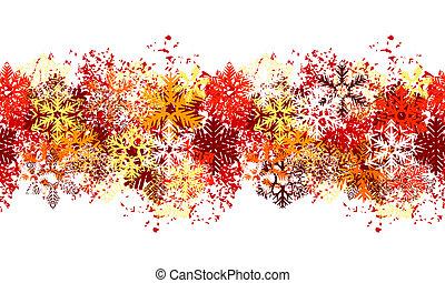 anders, snowflakes, seamless, witte , grens, rood