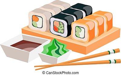 anders, sushi, vrijstaand, achtergrond, witte