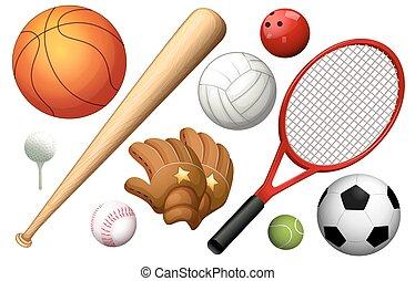 anders, types, van, sportende, equipments