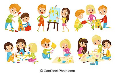 anders, vector, geitjes, samen, kleine, illustratie, spullen